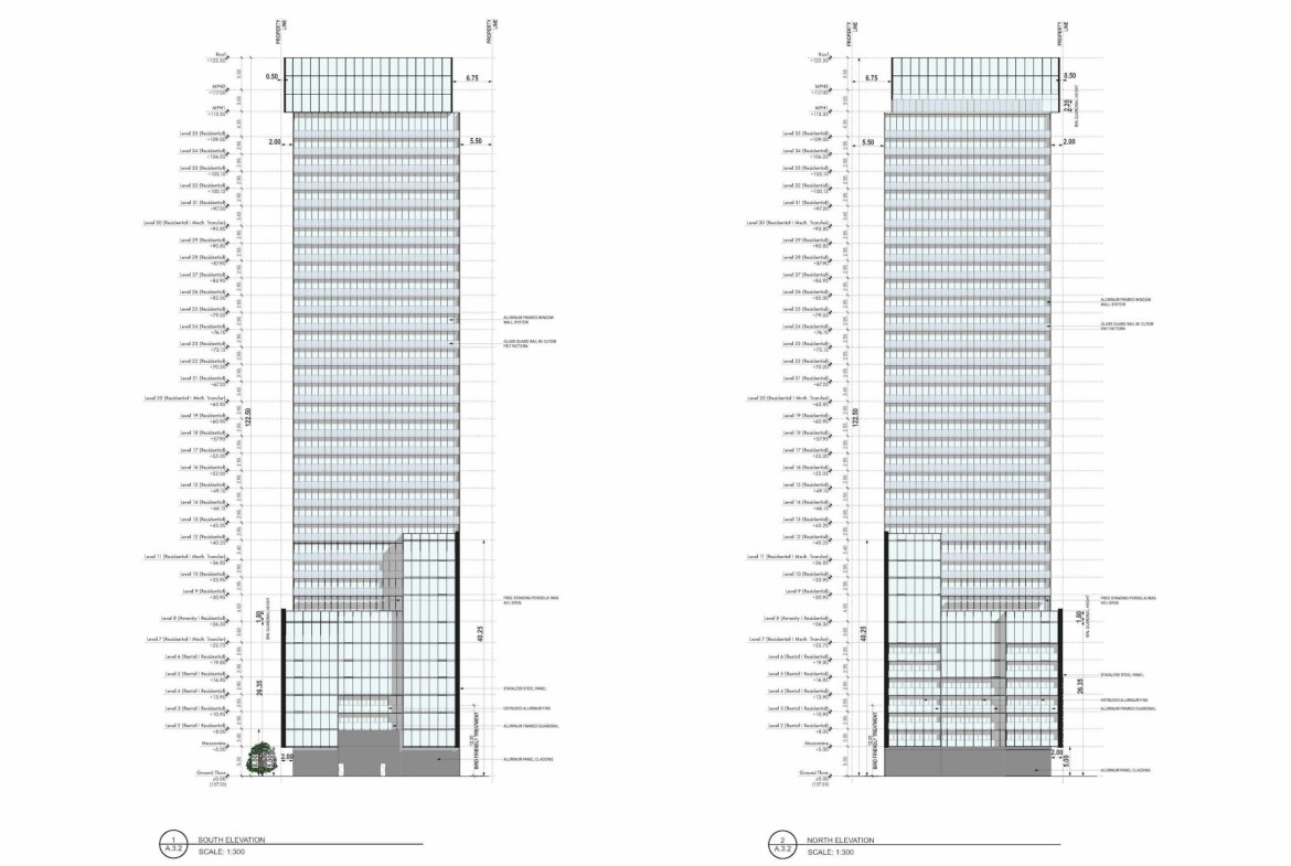Architectural Plan of 241 Redpath Condos North and South Elevation