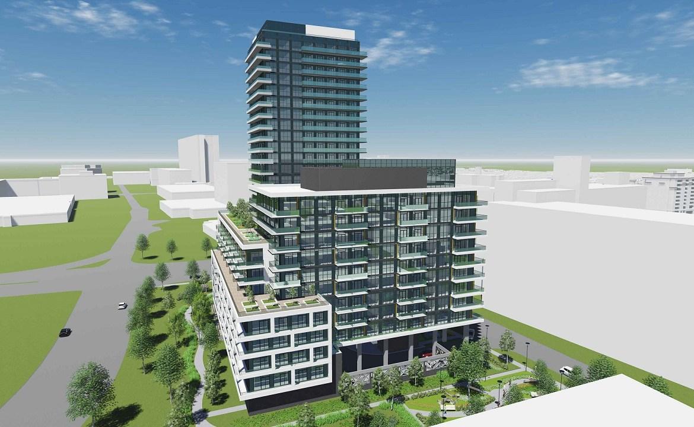 Aerial rendering of 2699 Keele Street Condos side 1 exterior.