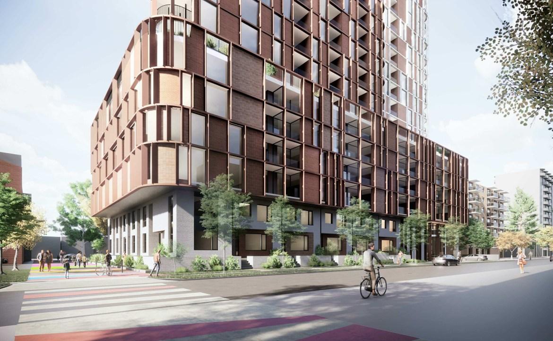 Podium exterior rendering of 32 Raglan Avenue Condos with streetscape.