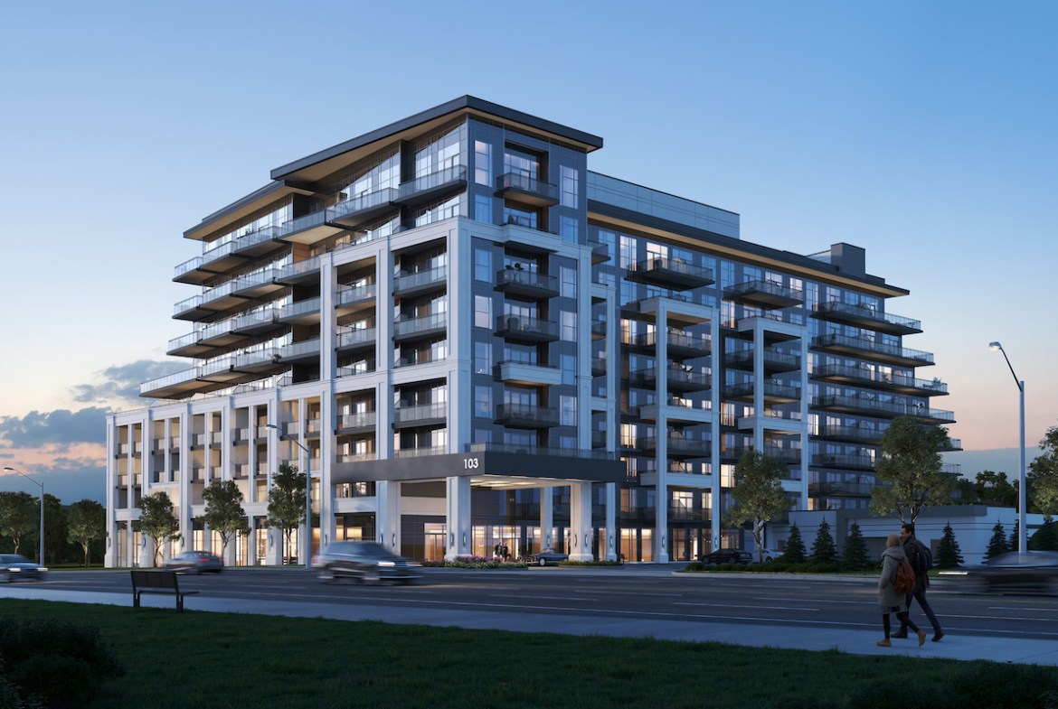 Rendering of The Butler Condos building exterior.