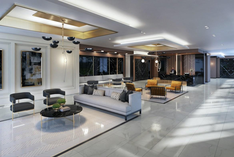 Rendering of The Butler Condos interior lobby.