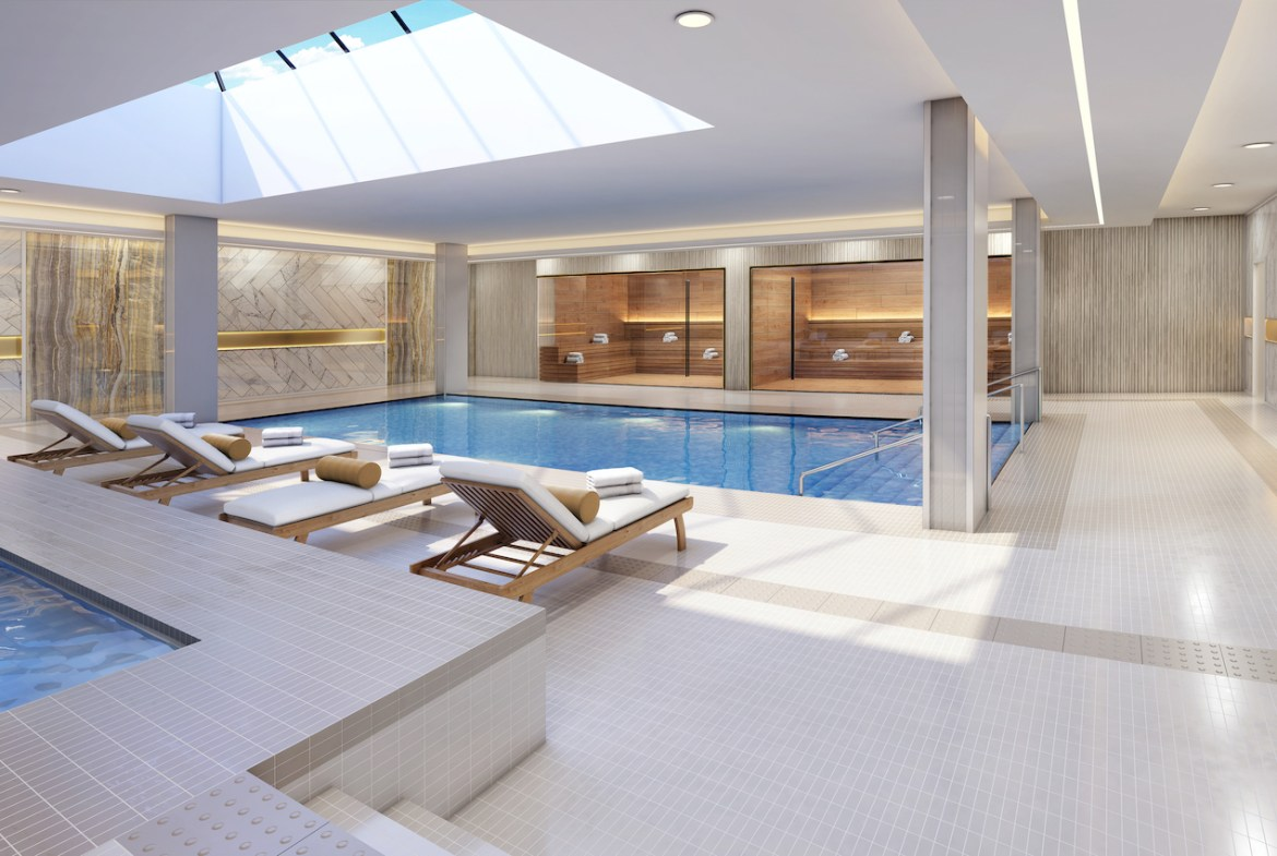 Rendering of The Butler Condos indoor swimming pool.