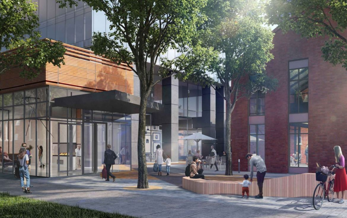 Rendering of Burke Condos exterior entrance and courtyard.