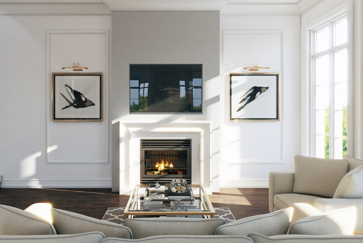 Rendering of Hillhurst Towns interior classic living room design.
