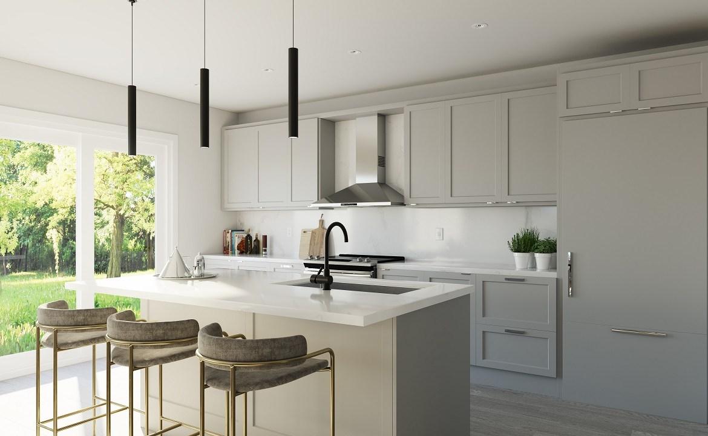 Interior rendering of King East Estates suite kitchen.