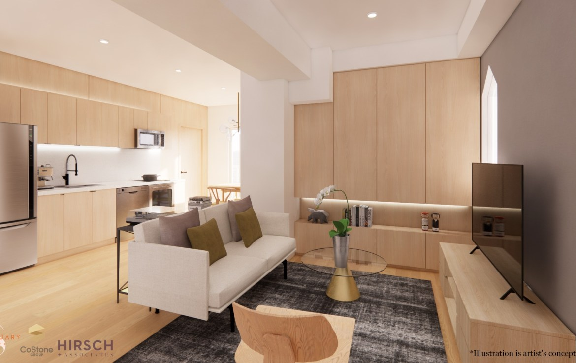 Rendering of Sanctuary Lofts interior living room.