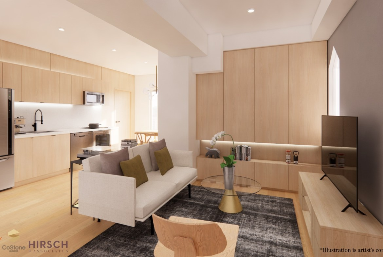 Rendering of Sanctuary Lofts interior living room.