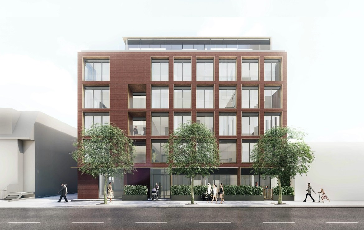 Exterior rendering of The Brickhouse on Gladstone Condos front facade.
