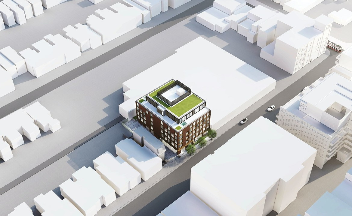 Exterior rendering of The Brickhouse on Gladstone Condos aerial with greenroof.
