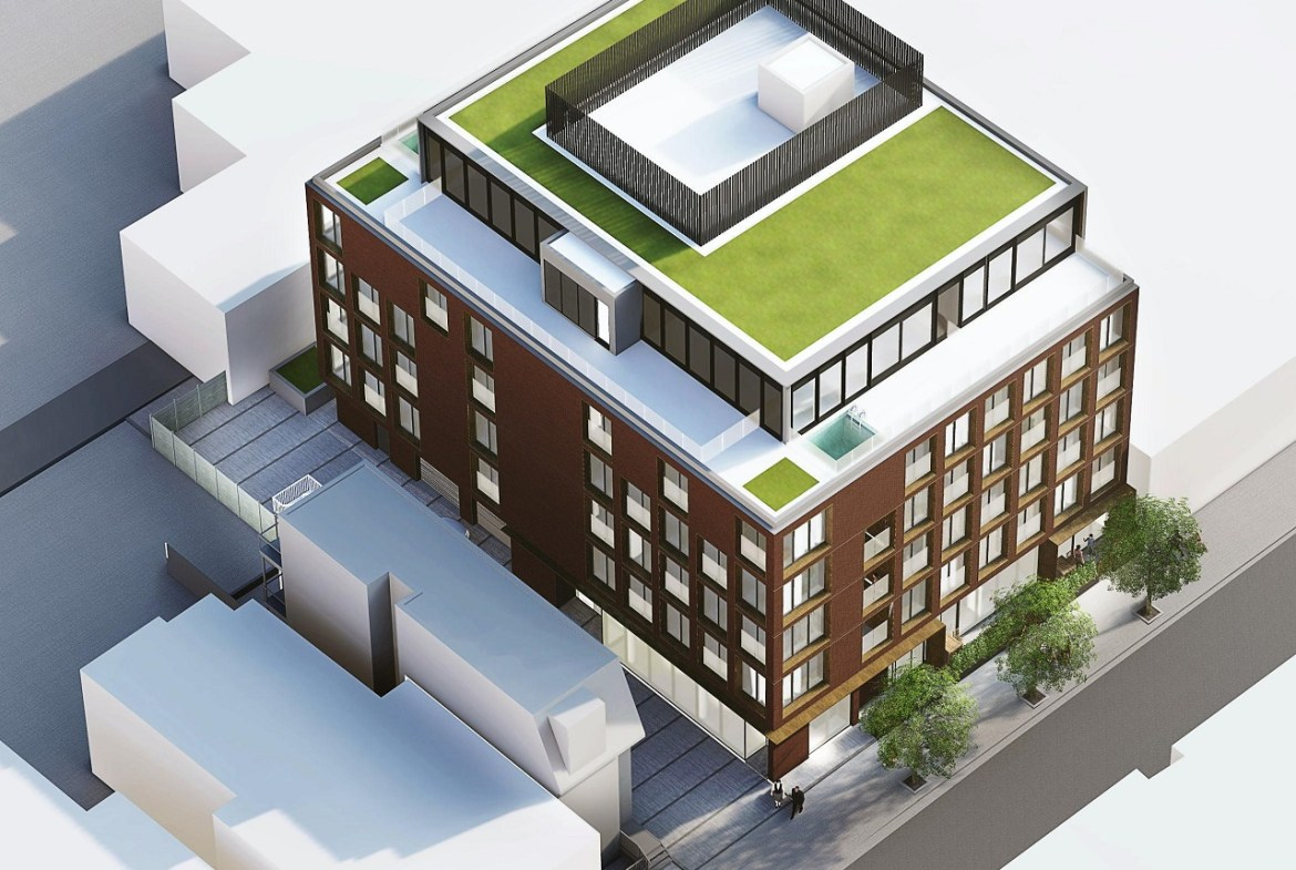 Exterior rendering of The Brickhouse on Gladstone Condos aerial close up of the rooftop green space.
