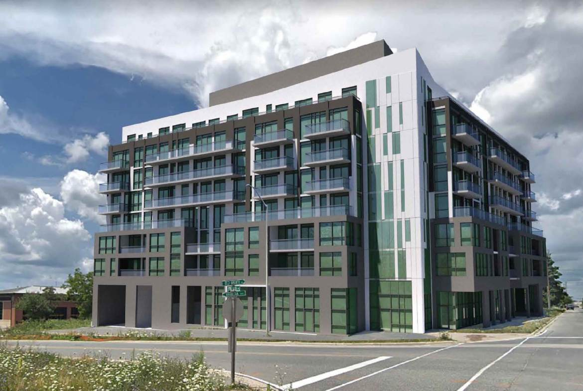 Exterior rendering of The Bronte Condos at Old Bronte Road and Pine Glen Road in Oakville