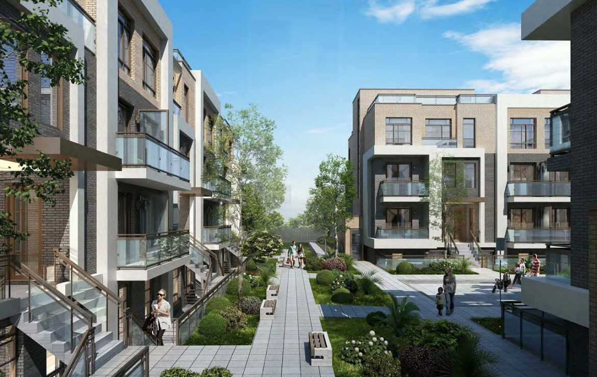 Rendering of 3445 Sheppard East Condos courtyard.