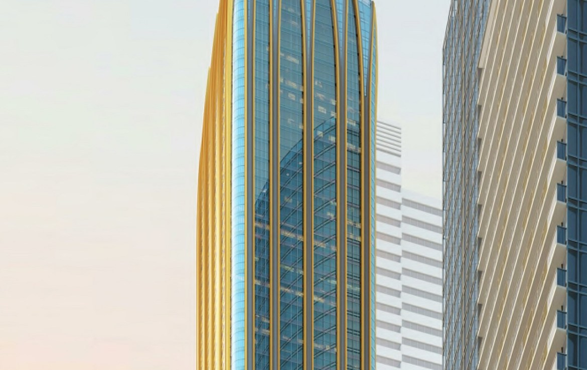 Rendering of 372 Yonge Condos building exterior top half.