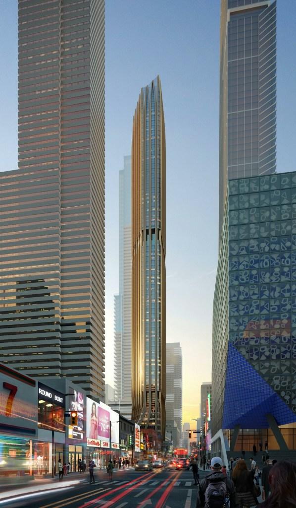 Full exterior rendering of 372 Yonge Condos in Toronto.