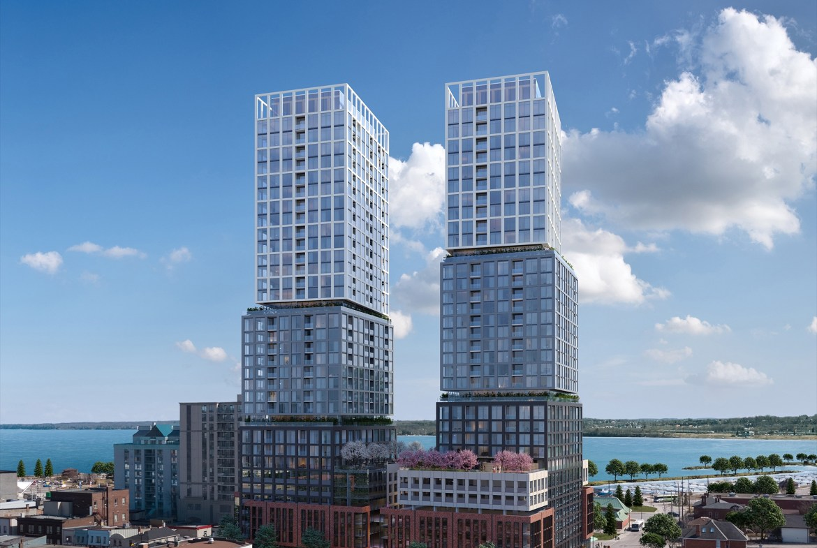 Rendering of Debut Waterfront Residences exterior during the day.