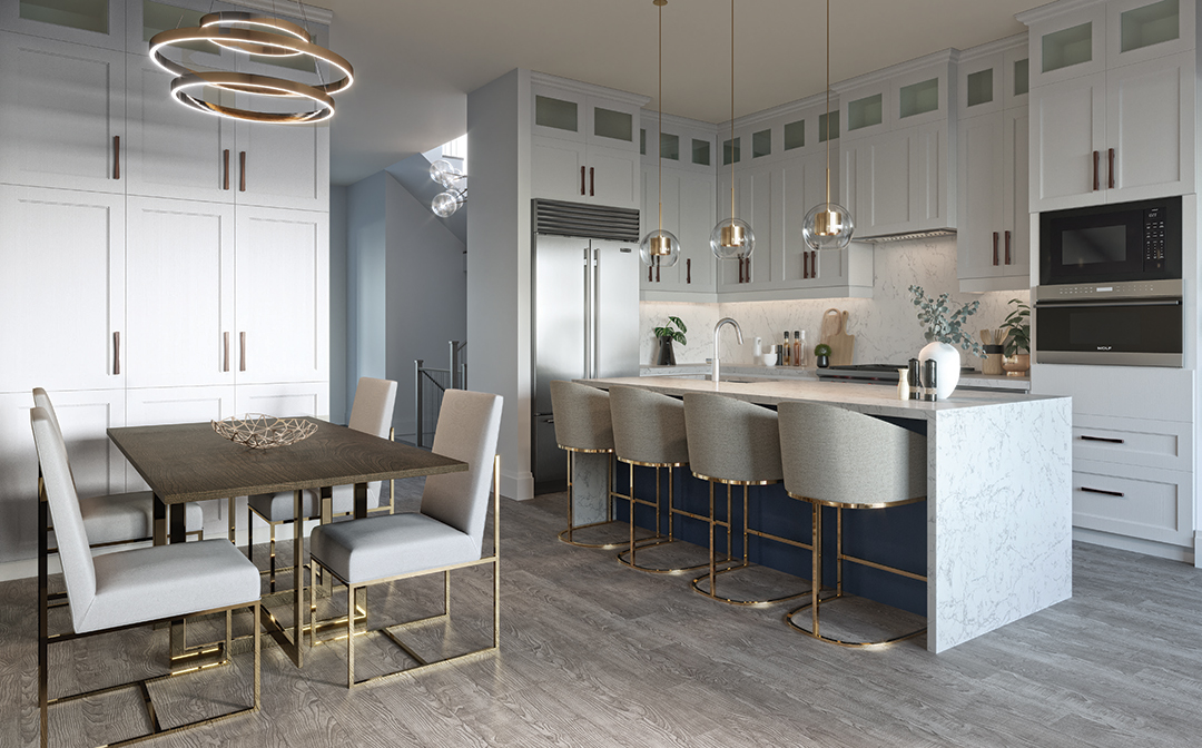 Interior kitchen rendering of La Reserve Residences in Olde Oakville.