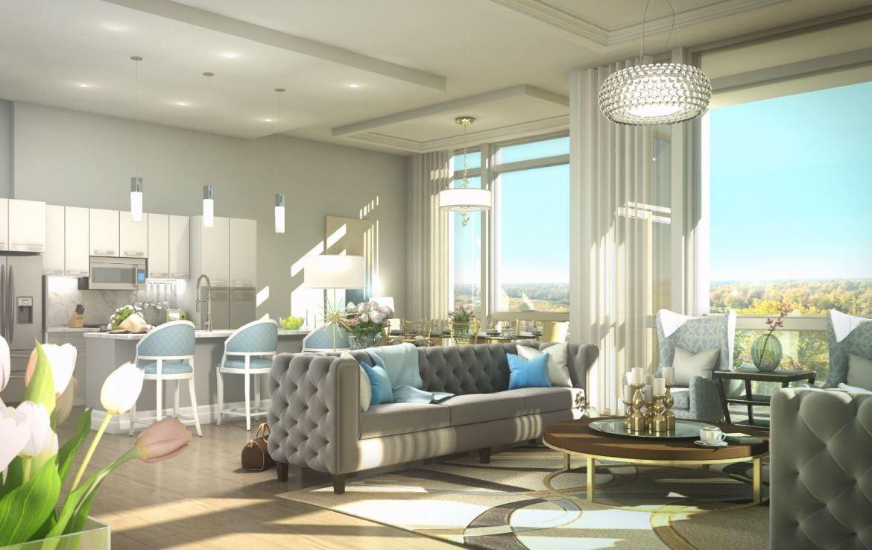 Rendering of Upper Vista Condos suite living room area
