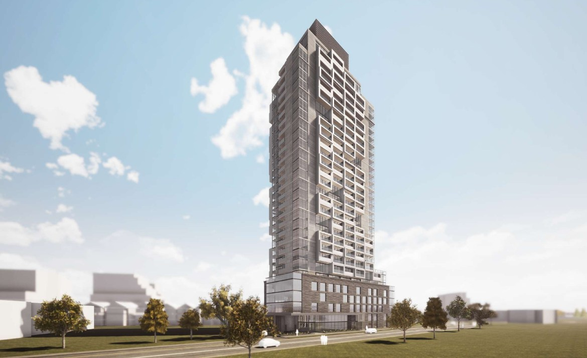 Exterior rendering of 290 Old Weston Road Condos side-view with streetscape.