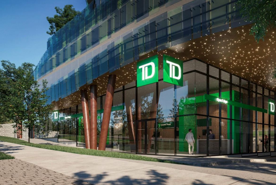 Rendering of 630 Finch Avenue East Condos exterior with TD Canada at ground-level.