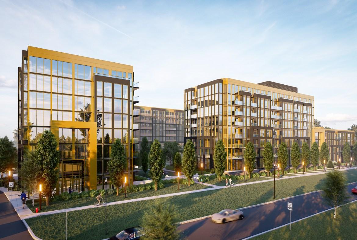 Rendering of Nuvo Condos exterior street view.