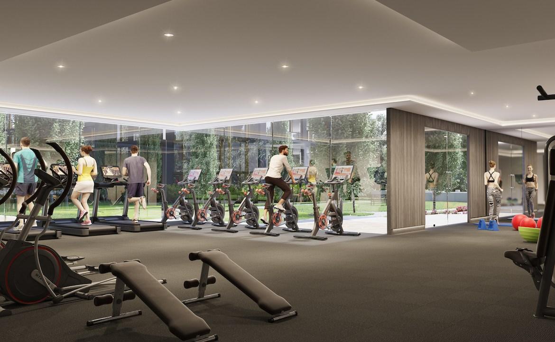 Rendering of NUVO Condos gym.