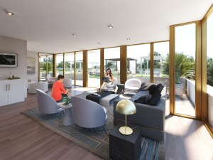 Rendering of NUVO Condos party room seating.