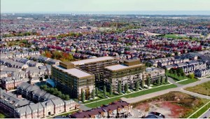 Rendering of NUVO Condos aerial view of the site.