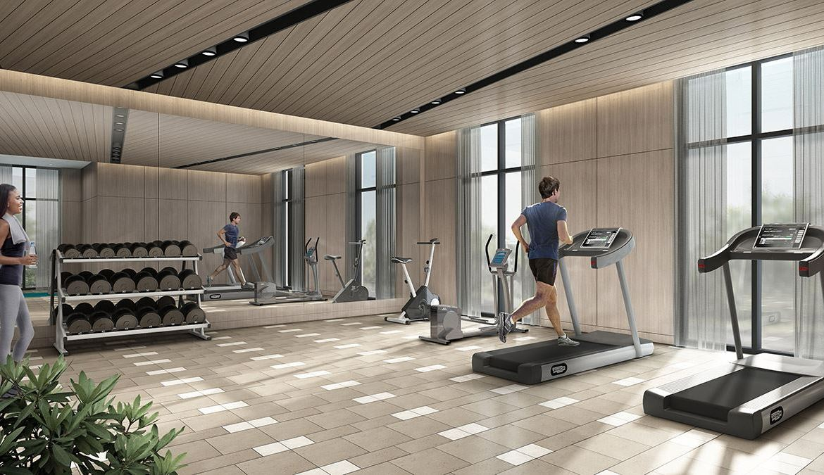 Rendering of Canvas on the Rouge Condos gym.