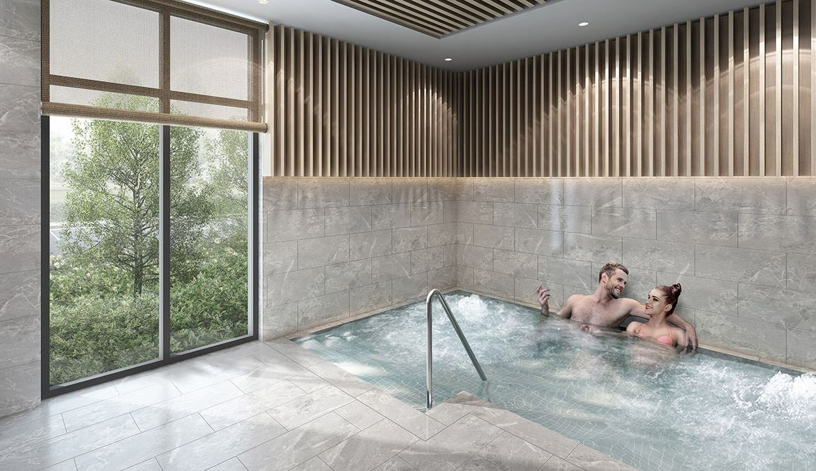 Rendering of Canvas on the Rouge Condos jacuzzi.