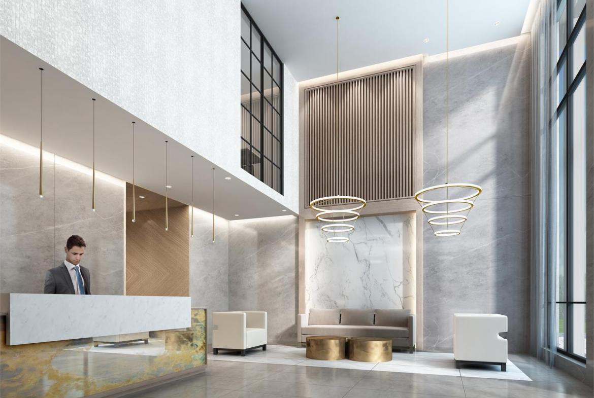 Rendering of Canvas on the Rouge Condos lobby with concierge.