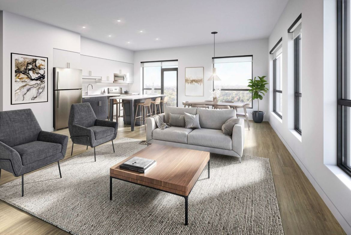 Rendering of Elevate Condos suite interior living room.