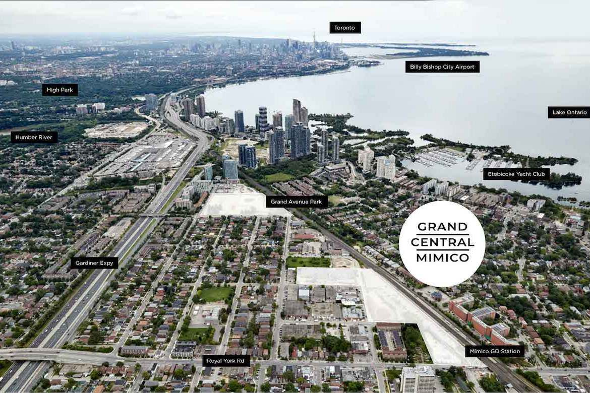 Grand Central Mimico aerial map with marker overlays
