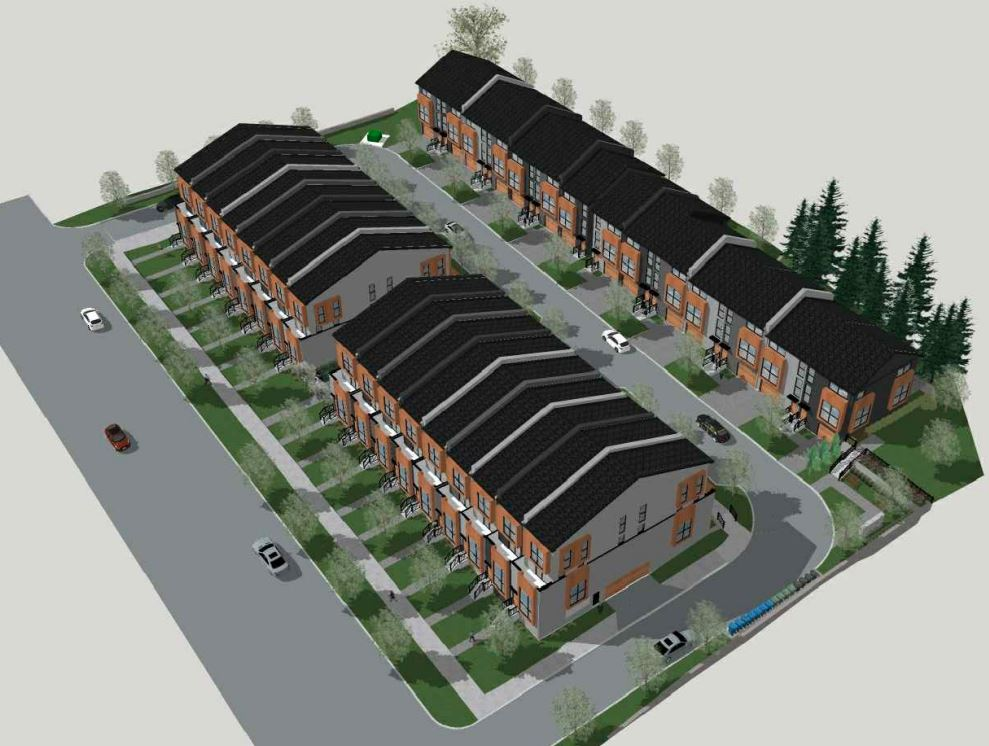 Aerial rendering of 448 Markham Road Towns in Scarborough.