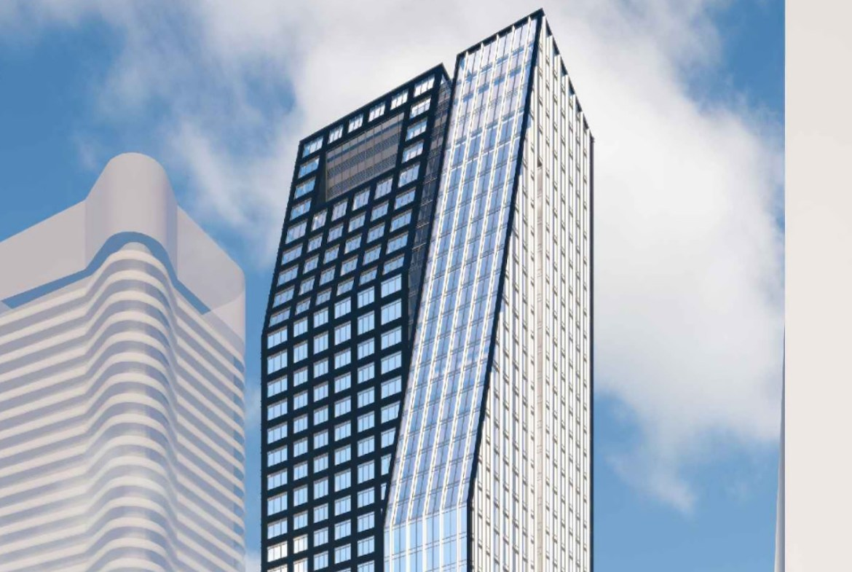 Rendering 8 Wellesley Residences building exterior top-half.
