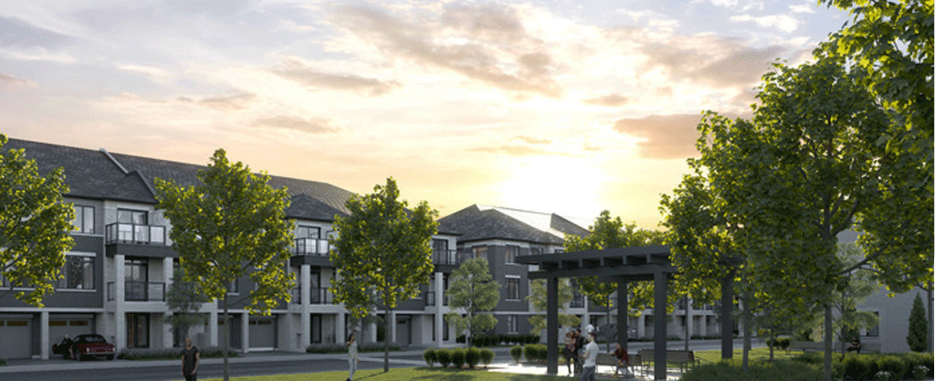Rendering of Cachet Parq Towns view of homes at dusk from the park.