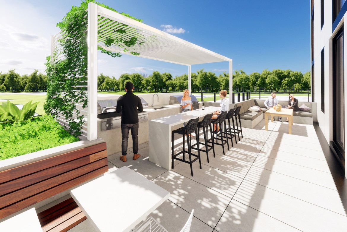 Rendering of Grand Bell Condos terrace.