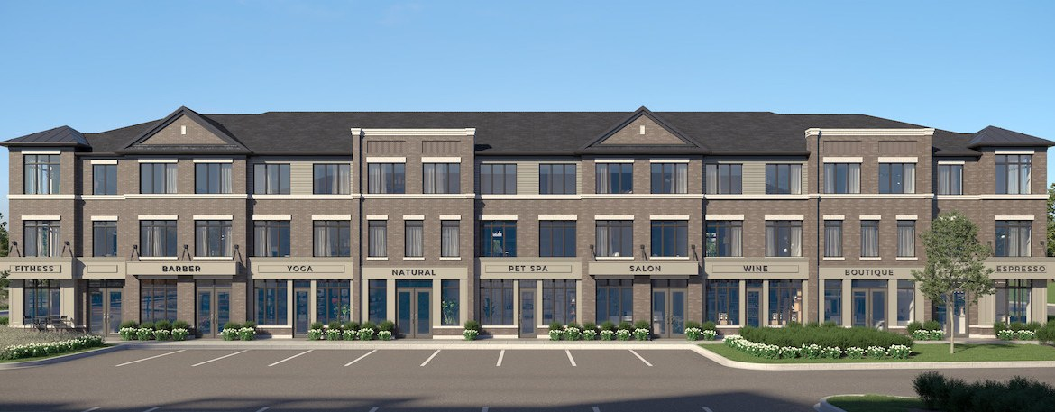 Rendering of Cachet ParQ Towns live work front exterior.