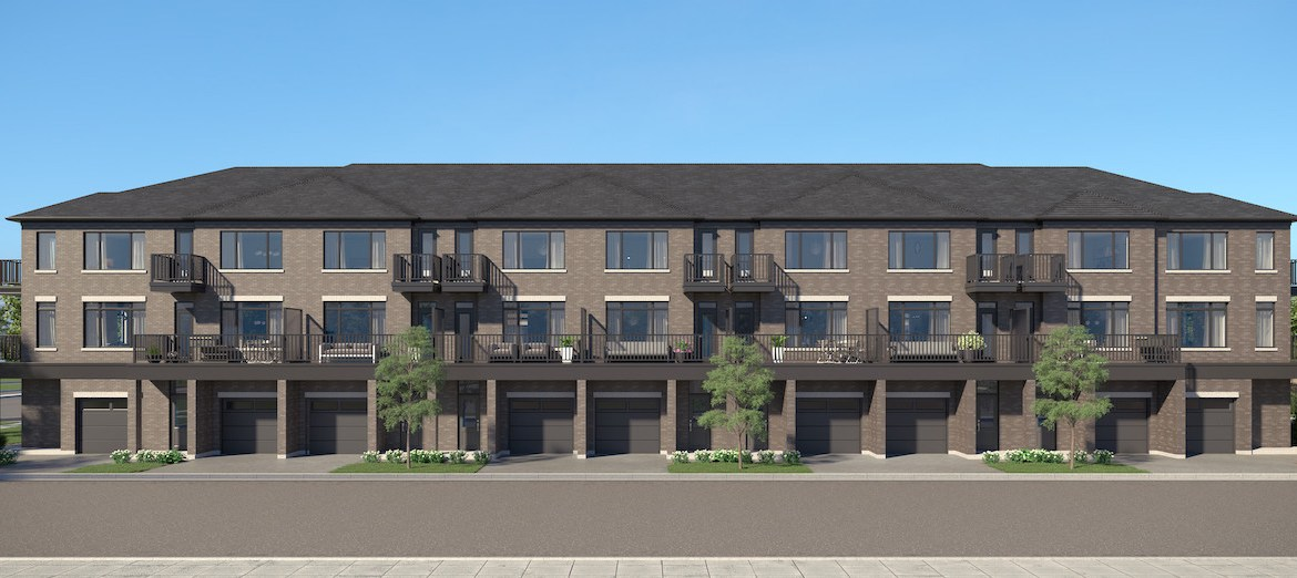 Rendering of Cachet ParQ Towns live work rear exterior.