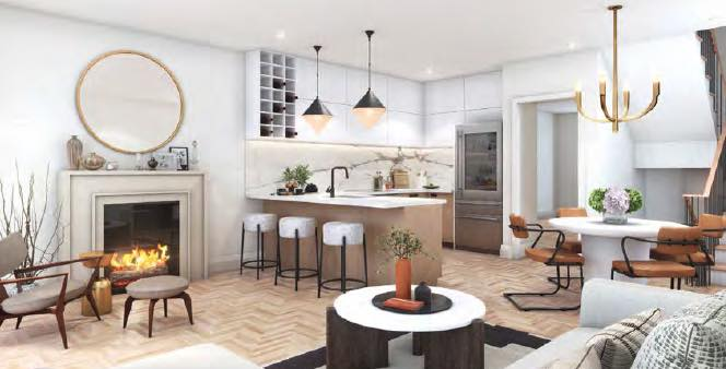 Greenhill Towns rendering interior living room open-concept.