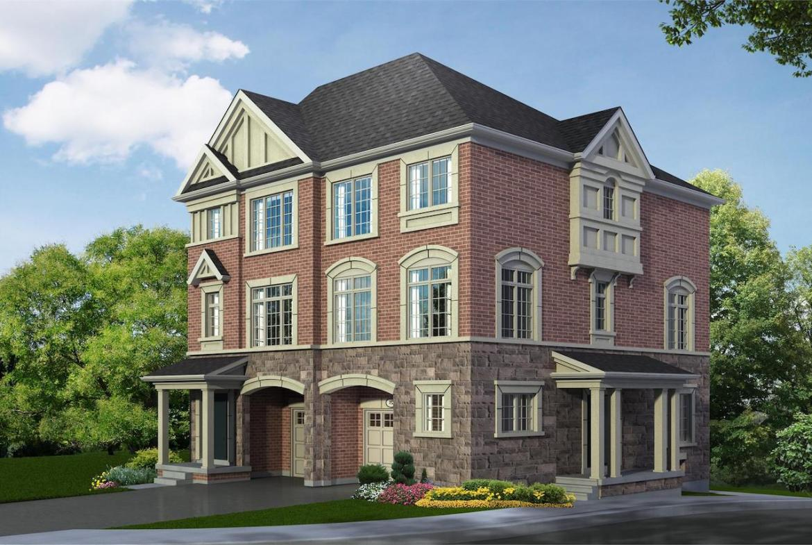 Exterior rendering of Hilltop Semi-detached home at Old Harwood in Ajax side-view.