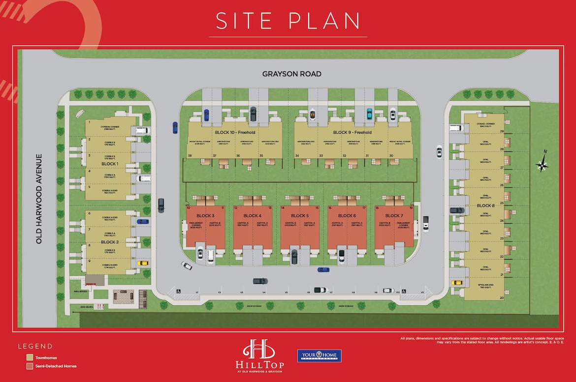 Site plan of Hilltop towns at Old Harwood in Ajax.