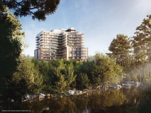 Rendering of Perch Condos exterior with ravine room