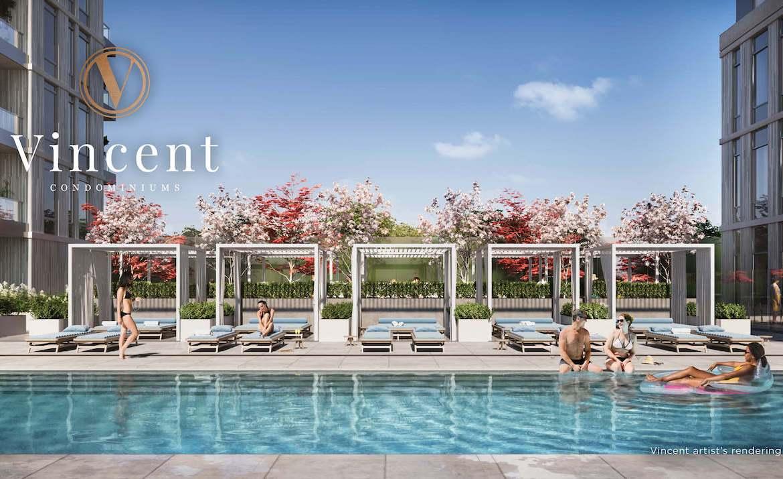 Rendering of Vincent Condos outdoor pool