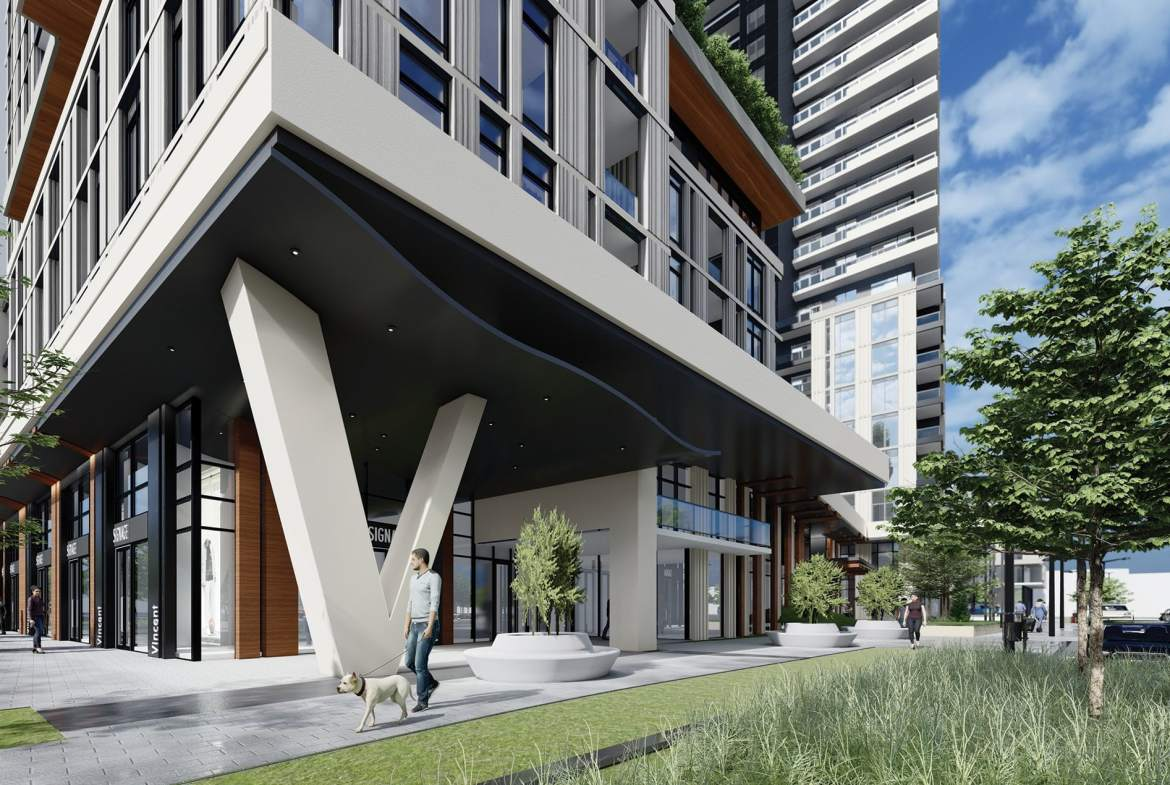 Rendering of Vincent Condos exterior.