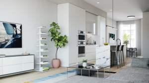 Rendering of Brightwater Towns interior winter kitchen