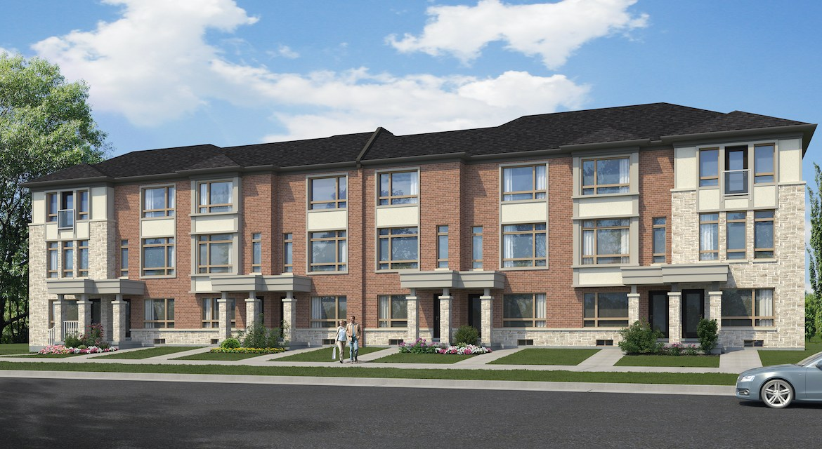 Exterior rendering of The Village at Highland Creek Townhomes