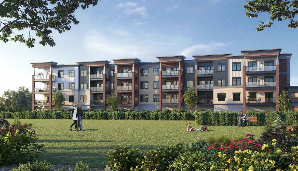 Rendering of The Brix Condos exterior during the day
