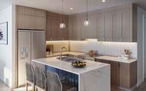 Rendering of The Brix Condos interior kitchen