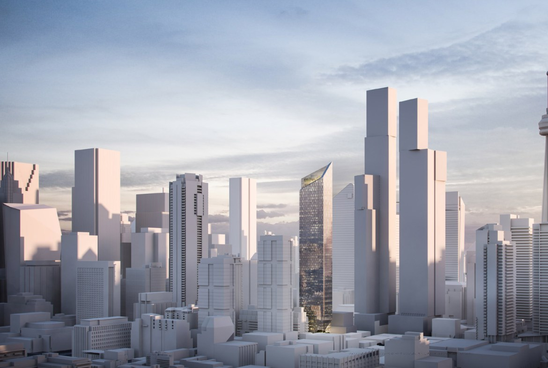 Exterior rendering of 240 Adelaide Condos in Toronto cityscape