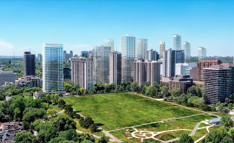 Rendering of 49 Jackes Avenue Condos park view aerial